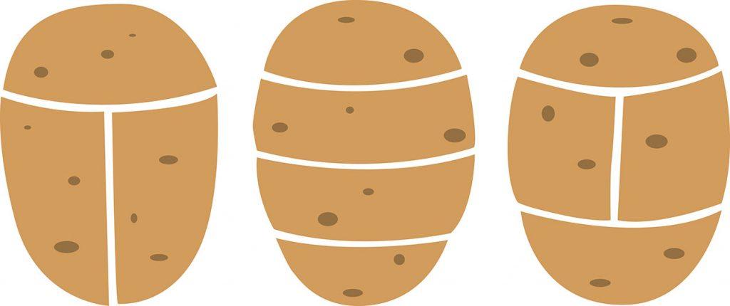 фото правильных разрезов картофеля для посадки