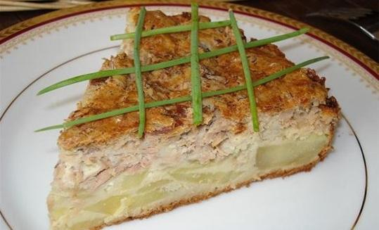 фото жидкого пирога с мясом и картошкой