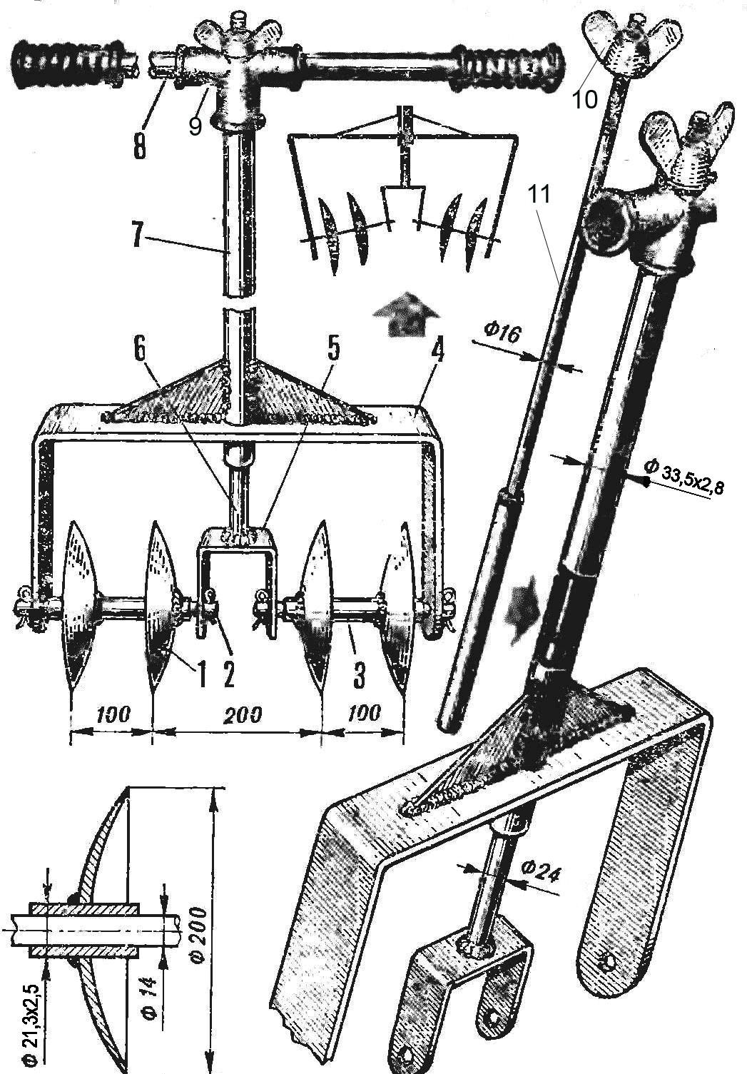 чертеж ручного кульиватора для картошки фото