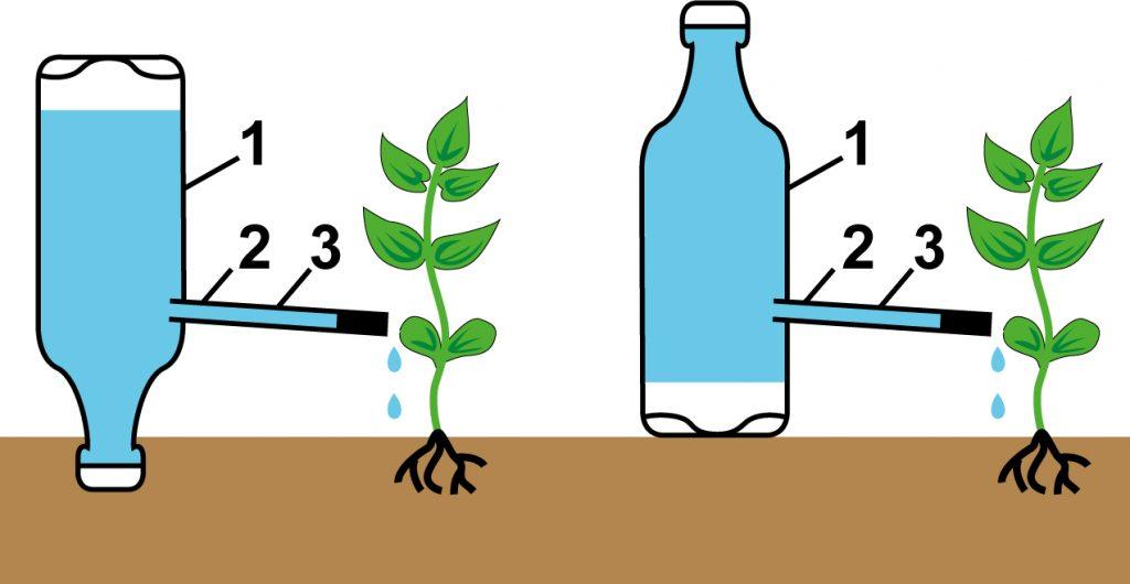 система капельного орошения из пластиковых бутылок