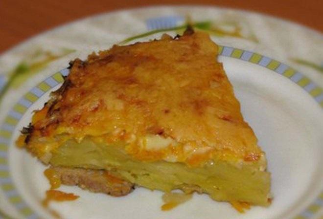 фото готовой картофельной бабки, приготовленной в мультиварке