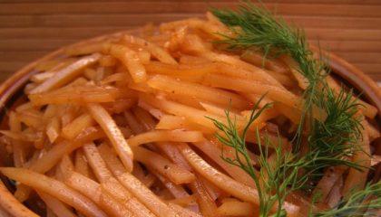 фото готового салата картошка по-корейски