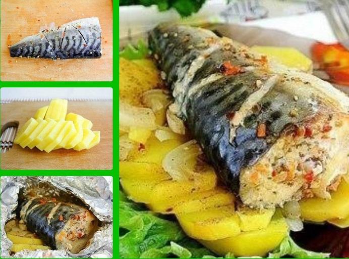 фото пошагового рецепта запекания скумбрии с картошкой в фольге
