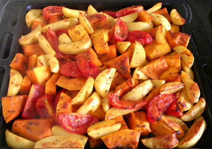 фото запеченного картофеля с тыквой в духовке