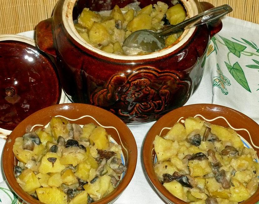 фото картошки с грибами в горшочках, запеченной в духовке