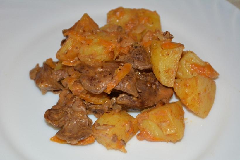 фото куриной печени с картошкой в мультиварке